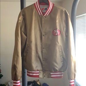 Gold 49ers jacket.